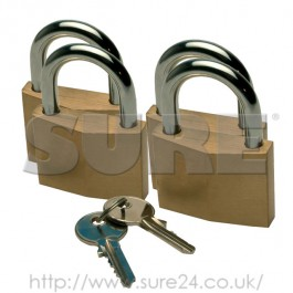 Sterling LCKBPL444 Brass Padlock-40mm 4 Pack Keyed Alike